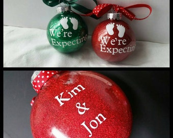 """Personalized """"We're Expecting"""" Ornament with Names and Date"""