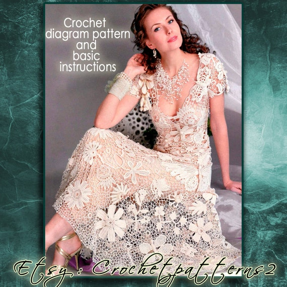Instant download wedding dress crochet pattern english crochet instant download wedding dress crochet pattern english crochet diagram and basic instructions symbols are not interpreted in words from crochetpatterns2 ccuart Images