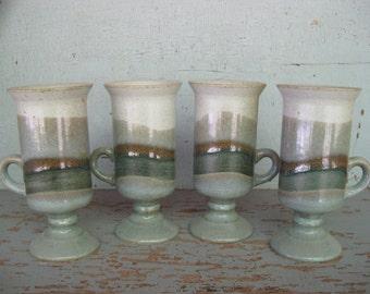 Set of 4 Vintage Otagir Stoneware Footed Irish Coffee Mugs