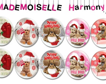 10 glass cabochons 18/25 mm Teddy bear Christmas size 18/25 mm cabochons