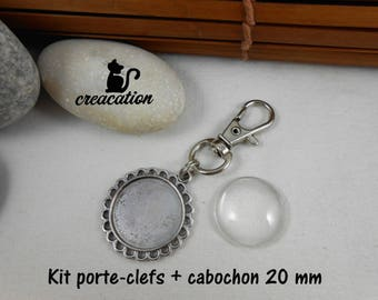 Key holder Kit: support + cabochon 20mm + large lobster clasp. Silver 7287206
