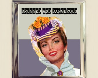Drugged and Dangerous Cigarette Case Business Card ID Holder Wallet Pin Up Girl Pinup Retro Humor Funny