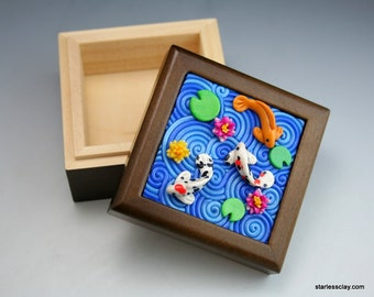 Fimo Koi Pond Wooden Box Walnut Finish