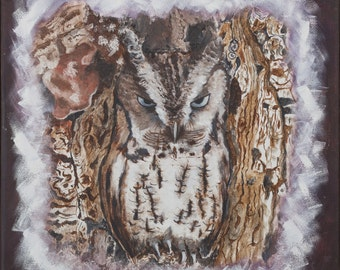 Print of oil painting made by me, owl that camouflages itself