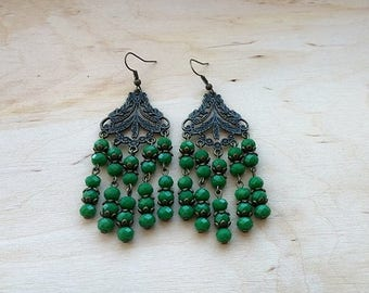 Olive green glass beads Long bohemian earrings Vintage jewelry Classical chandeliers earrings Native america Boho Holiday gift