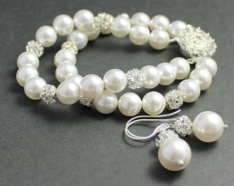 Pearl and Crystal Bridal Set, Pearl Bridal Bracelet & Earrings, Wedding Jewelry, Bridal Jewelry, Bridesmaids Jewelry Set