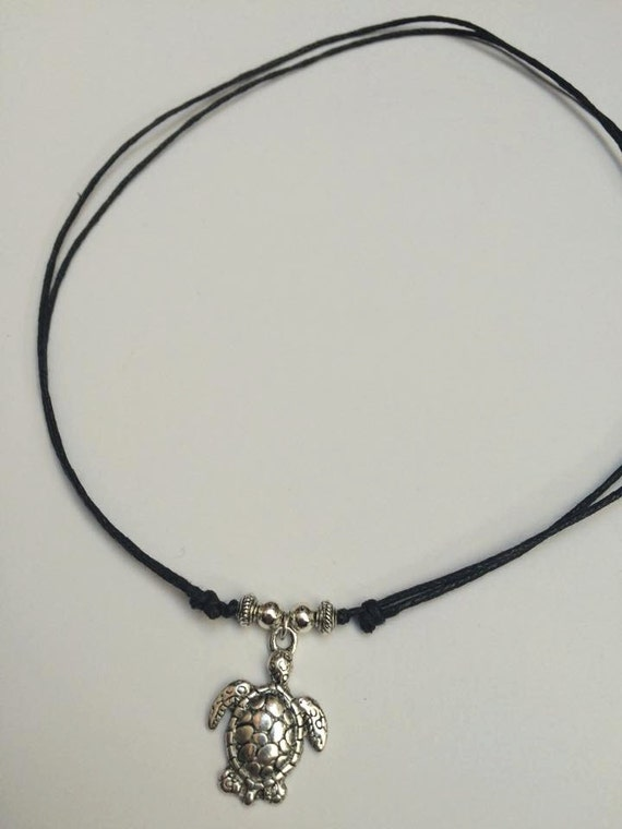 Fabulous Turtle Necklace Adjustable Black Cord Necklace Turtle Choker GL11