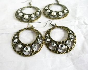 Bronze Hoop Style Earrings with Rhinestones
