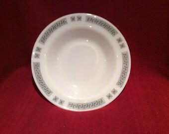 Pyrex JAJ Greek Key Soup bowls 1/2 pint 8 7/16 diameter circa 1960