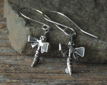 Sterling Silver Earrings, Dragonfly Earrings, Silver Dragonflies, Artisan Jewelry, Rustic Handcrafted, Urban Chic, Whimsical Earrings