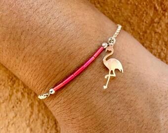 Silver chain, Flamingo charm bracelet pink and delicate miyuki beads pink