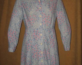Mini Dress Floral Polyester 60s Vintage