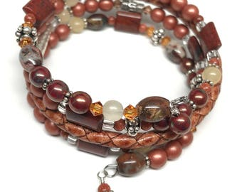Brown Leather Wrap Bracelet, Leather & Bead Memory Wire Wrap Bracelet, Boho Leather Wrap Bracelet