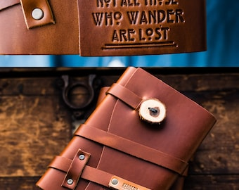 60% OFF --  Personalized Leather Journal -- Not All Who Wander Are lost - Custom Leather Refillable Handmade Portland, Oregon... Sale!