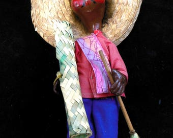 Little Latino Doll - Central American or South American Doll of wood and straw with clothing and broom