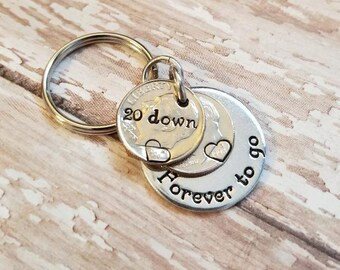 20 Years Down and Forever To Go 20th Anniversary Gift with 1998 Dimes Key Chain for Him or Her with Personalized Options