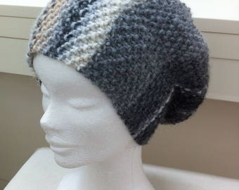 Wool Hat in shades of grey, white, beige