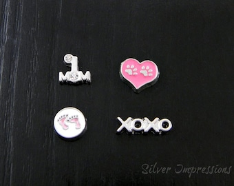 Floating Charms / Mom Paw Baby Feet Charms /  Locket Charms