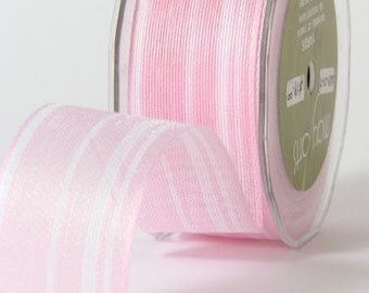 CLEARANCE - Jute - Ogranic Cotton Blend Ribbon with Stripes - Pink & White