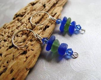 Blue and Olive Green - Sea Glass Earrings - Dangle Earrings - Stacked Sea Glass - Pure Sea Glass Earrings - Prince Edward Island Beach Glass