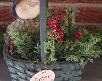 Country Christmas decor,  snowman decor, winter decor, berries and pines