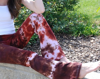 "Chocolate Cinnamon Brown Tie Dye Yoga Pants 32"" inseam Including Plus Sizes"