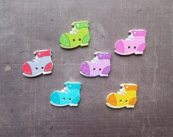 15 buttons wood shoe form clothing fashion