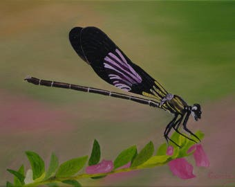 "Dragonfly Oil Painting, Damselfly, Original Oil Painting - ""Flashy Damsel"" (12"" x 16"")"