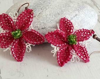 Mom Gifts Burgundy Earrings Statement  , For Her Girlfriend Gift For Mom Holiday ,Flower Earrings Daughter Gift