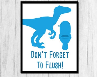 Flush Sign Instant Printable Art Boys Bathroom Blue Rules Kid Bath