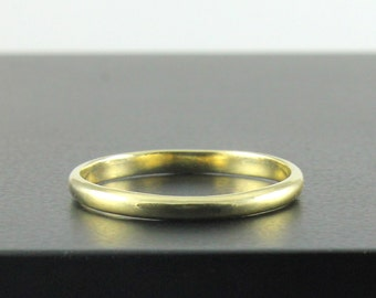 14K Yellow Gold Wedding Band - Lightweight 2mm Simple Wedding Ring