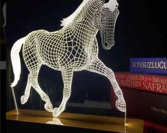 Horse Lamp, 3D Horse Lamp, LED Running Horse Lamp, Gift Idea, 3D Illusion Light, Desk Lamp, Night Light, Gift for Him, Gift for her