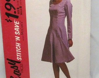 Stitch N Save 5788 Easy Misses Semi Fitted Flared Dress with Long Sleeves Size 12-14-16 UNCUT