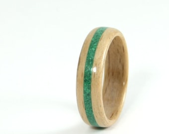 Wooden Ring Handmade From Beech With Malachite Inlay