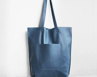 SALE Arrow Tote in Steel Blue  / Leather Tote Bag  / Blue Tote Bag / Leather Handbag / Blue Leather Tote / Blue Leather Handbag / Blue Bag