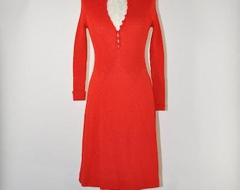 70s bright red knit dress / 1970s ribbed knit dress / vintage sweater dress