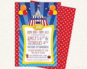 Carnival Invitations, Carnival Birthday Invitation, carnival invite, Circus Birthday Invitation, Twin birthday invitations, circus theme