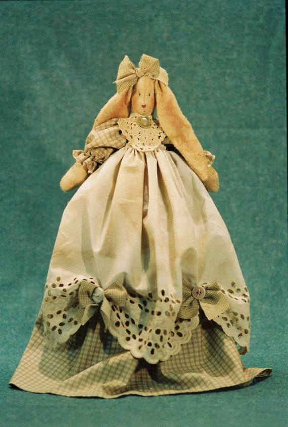 Joanna - Mailed Cloth Doll Pattern-Pretty Country Girl Shelf Sitting Bunny