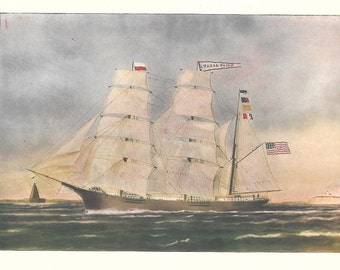 Print of the Sailing Ship Bark Taria Topan, built in 1870