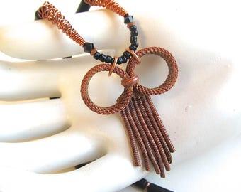 Copper and Black Onyx Pendant Necklace - Retro Tassel Necklace
