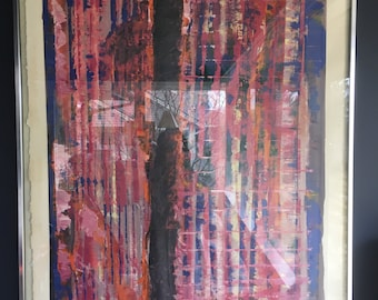 Vintage Mid Century Modern Large Abstract Oil Painting- Signed & Dated