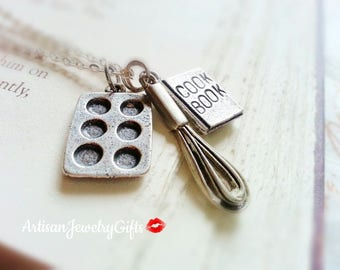 Silver Baking Necklace Baking Charm Necklace Cooking Necklace Baker's Necklace Cook Book Necklace Baker's Gift Mother's Day Gift For Her