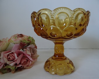 Vintage LE Smith Moon and Star Amber Compote - Lovely