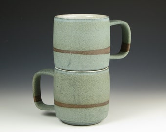 Stoneware mugs, pottery mug, studio pottery, handmade mug, stoneware, matte mug, matte blue. listing is for ONE mug