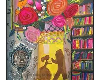Beauty and the Beast • La Belle et la Bête • art print• giclee • imaginary • whimsical • flower vase series • roses • storybook • child gift