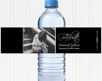 Personalized Graduation Labels - Water Bottle Labels - Class of 2018 - Picture Water Label - Highschool Graduation - High School Graduation