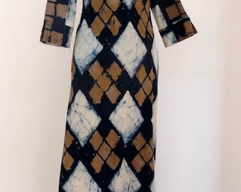 Long dress blue, beige and Brown Argyle, 3/4 sleeves
