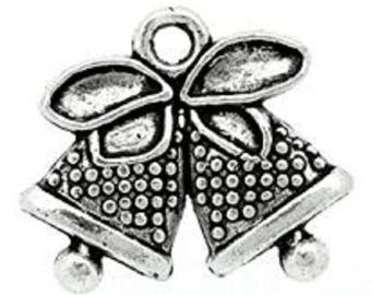 set of 5 Silver charm Bell 14 x 17 mm