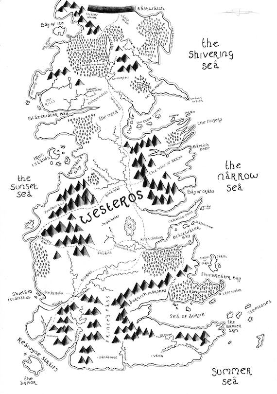 Westeros Game of Thrones Bespoke Hand-Drawn Map