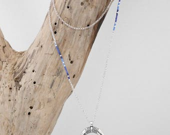 Long necklace boho chic chain and seed beads Miyuki blue and silver double Horn (or half-moon) Pendant (SAUT14bleu)